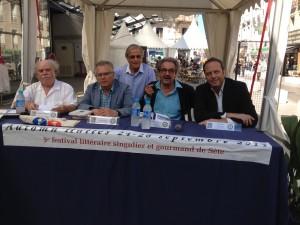 de gauche à droite  Lazare Chabbi, Andrea Genovese, Michel Blanchard, Fulvio Caccia et Claudio Pozzani